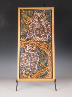 Horned Owls wall tile