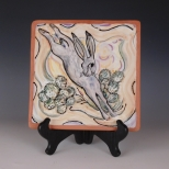 Square plate: Rabbit in the cactus