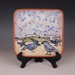 Square plate: New Mexico Blue Birds
