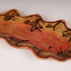 Platter: red birds in the branches