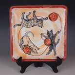 Square plate: Cats Playing